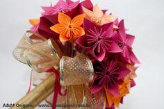 A&M Origami - Uma dObra de arte!: {Casamento} Buquê de origami com flores Morning glory Estrutura