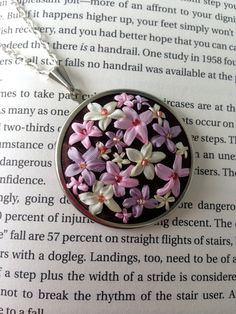Handmade Embroidered Necklace, Pink and Lavender Pendant - Silk Ribbon Embroidery on Upcycled Recycled Fabric