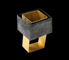 Really like the modern simplicity of this Gigi Mariani - Ring: Parallel Worlds, 2014 | Silver, 18kt yellow gold, niello, patina