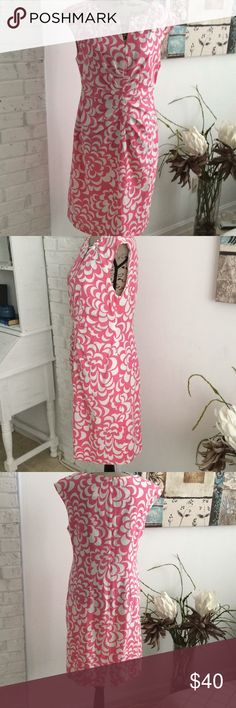 Pink and white dress Beaded around neck. All beads intact. Zipper in back. Lined. Gently worn. Smoke free home. No trades. I only deal through Poshmark. jessica H Dresses