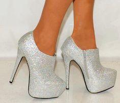 silver glitter booties, bootie heels