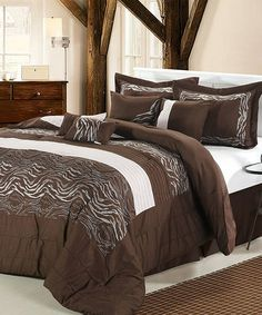 Take a look at this Brown Zebra Embroidered Comforter Set by Chic Home Design on #zulily today!