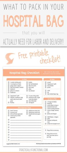 Forget all the other lists. Here is everything you really need at the hospital to give birth (plus what you don't!). Download this free printable checklist of everything you need in your hospital bag when you go into labor. #babystuffyouneed