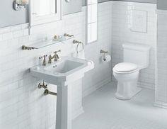 Black trim for a white subway tile bathroom — The Gut Bathroom