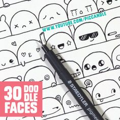 Video ~ 30 Cute Faces/Expressions to Doodle | Watch it on YouTube channel: www.youtube.com/piccandle