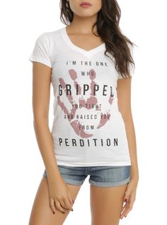 Supernatural Gripped You Tight Girls V-Neck T-Shirt   Hot Topic