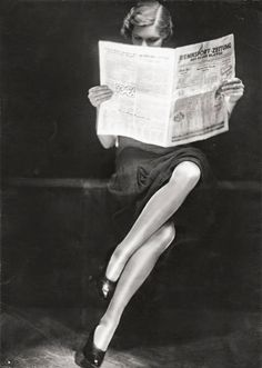 vintage everyday: A lady reading newspaper, 1932