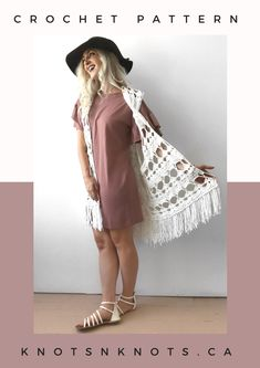 Fun and easy bohemian crochet pattern! Wear it as a beach cover-up or over your favourite warm-weather outfit. Crochet Vest Outfit, Black Crochet Dress, Crochet Cardigan, Crochet Lace, Crochet Vests, Crochet Tops, Crochet Outfits, Crochet Dresses, Bohemian Crochet Patterns