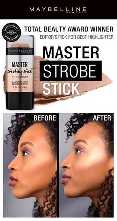 The Total Beauty Award Winner for Editor's Pick for Best Highlighter is the Maybelline Master Strobing Stick.  The creamy formula with micro-fine pearls combine to boost skin glow.  Tap on tops of cheekbones for a natural highlight glow or apply directly onto skin for a targeted, blinding highlight.
