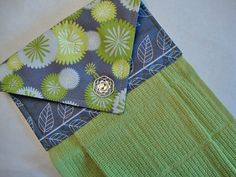 Grey and Green Print Fabric Topper on a Green Hanging Kitchen Towel, Hanging Dish Towel, Moda Simply Color