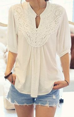 Crochet Floral Blouse - White