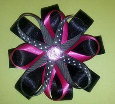 Black, gray, White, polka dot, hot pink hairbow