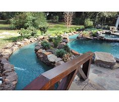 natural pool with lazy river. beautiful ideas. Home Design Ideas