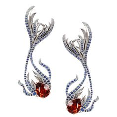 Milena Kovanovic Spessartine Sapphire Diamond Gold Earrings | From a unique collection of vintage drop earrings at https://www.1stdibs.com/jewelry/earrings/drop-earrings/