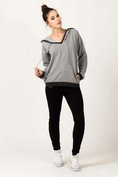 Jasno szara bluza damska z kapturem Normcore, Style, Fashion, Swag, Moda, Fashion Styles, Fashion Illustrations, Outfits