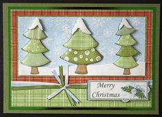Print out the Christmas trees from the website's free decoupage printout. Cut out and glue to cardstock, adding ribbon.