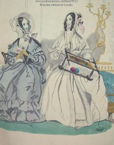 "This image comes from ""Ladys Book and Ladies' American Magazine"" published in Philadelphia by Louis A. Godey in 1840.  It shows women of 1840 with their embroidery work. Item # 5522 on Maine Memory Network"