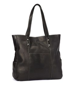 Another great find on #zulily! Black Large Pocket Leather Tote by Le Donne #zulilyfinds