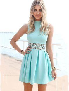 Blue Waist Hollow Lace Stitching Sleeveless Summer Mini Pleated Dress