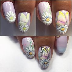 All of these nail designs and styles are as easy as they are lovely. For anybody who is constantly looking for options and brand new designs, nail art designs are a good way to display your individuality as well as to be original. Butterfly Nail Designs, Butterfly Nail Art, Nail Designs Spring, Cute Nail Designs, Rose Nails, Flower Nails, Nail Art Fleur, Ladybug Nails, Nail Ink