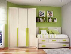Images of Modern Girls Bedrooms and Decoration - white and green - Best Home Gallery, Interior, Home Decor Cool Teen Bedrooms, Girls Bedroom, Bedroom Ideas, Bedroom Images, White Bedroom, Diy Room Decor For Teens, Teen Room Decor, Teen Room Designs, Green Furniture