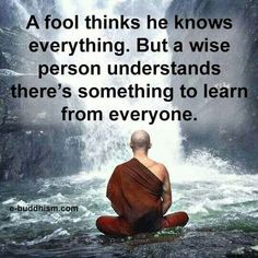 A fool thinks he knows everything. But a wise person understands there's something to learn from everyone.