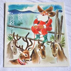 Santa was a cowboy! - lovely hand painted watercolour vintage Christmas card