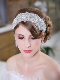 Wide Silver Art Deco Headband - covered in sparkly crystals
