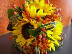 #Bouquet sposa #autunnale: #girasoli e bacche