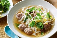 Thai Pork ball noodle soup  _  Inspired by the simplicity of Bangkok's street-side kitchens, Marion dishes up a flavour-packed Thai noodle soup.