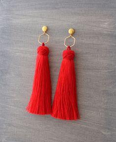 Silk Tassel Earrings - Red Tassel Earrings - Tassle Earrings - Long Tassel Earrings - Party Earrings - Wedding Tassel Earrings - Bohemian
