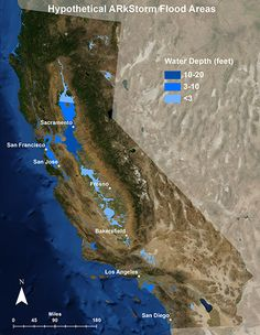 "City of Sacramento in California - An ARkStorm (for Atmospheric River 1000 Storm) is a hypothetical but scientifically realistic ""megastorm"" scenario developed and published by the United States Geological Survey, Multi Hazards Demonstration Project (MHDP). It describes an extreme storm that may impact much of California causing up to $725 billion in damages and repair (most caused by flooding), and affect a quarter of California's homes. The event would be similar to exceptionally intense…"