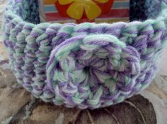 Mint Lilac and White Crocheted Basket by tracyleeilg1318 on Etsy