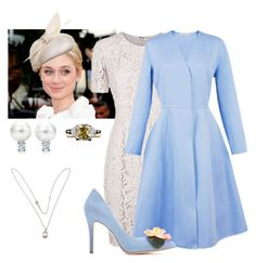 Princess Victoria attending the christening of Lilian of Belgium by immortal-longings on Polyvore featuring polyvore, fashion, style, Burberry, Esme Vie, Charlotte Olympia, Tiffany & Co., Juliette Botterill Millinery and clothing