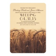 Elegant Rustic Fall Wedding Invitation with Wheat Heads