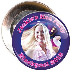 A customisable hen night badge with blue border and pink text. These hen party badges are customised with a photo, the name of the hen and a location.
