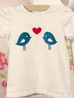 DIY - flock - little girl t-shirt vogel vogeltjes birds bird flockfolie