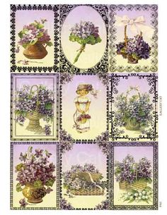 Victorian Violets Digital Collage Sheet Printable by GalleryCat