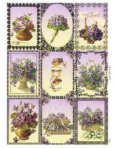 Victorian Violets Digital Collage Sheet Printable por GalleryCat