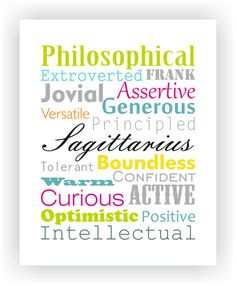Sagittarius Characteristics Personality Traits Typography Wall Art Digital Print Zodiac Star Sign Poster. £8.00, via Etsy.