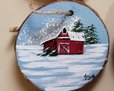 Wood slice ornament hand painted featuring an old red barn Painted Christmas Ornaments, Hand Painted Ornaments, Wood Ornaments, Christmas Wood, Christmas Projects, Beach Christmas, Christmas Scenes, Christmas Paintings, Holiday Crafts