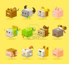 How adorable?!!.. 12 animal icon set #illustration #cute