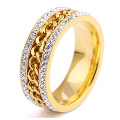 bdcabd3b1437 Click to Buy    Senior Jewelry Covered With Austrian Crystals Gold Wedding  Ring.