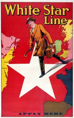 White Star Line Apply Here, 1920s - original vintage poster listed on AntikBar.co.uk