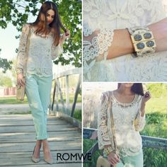 Lace Crochet Embroidered White Blouse