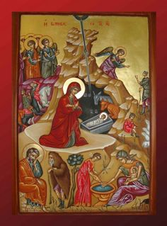 Βυζαντινή Αγιογραφία - Τοιχογραφία δια χειρός Βασίλειου και Περικλή Συρίμη Orthodox Icons, Blessed Mother, Sacred Art, Christian Art, Religious Art, Byzantine, Creations, Artist, Nativity Scenes
