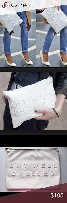 """Zara Stressed but Well Dressed Clutch Blogger fave! Sold out and rare Zara """"Stressed but Well Dressed"""" clutch. ‼️Accepting offers Zara Bags Clutches & Wristlets"""