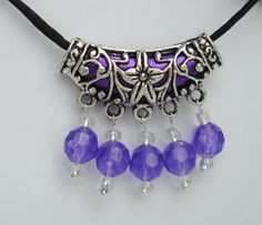 Tibetan Silver Necklace on Black Satin Cord Shades of Purple