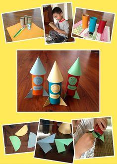 Space Crafts For Kids, Craft Activities For Kids, Preschool Crafts, Diy For Kids, Rocket Ship Craft, Diy Rocket, Summer Crafts, Diy And Crafts, Arts And Crafts