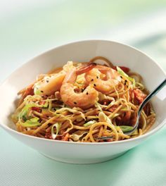 Cucumber & Kimchi Noodle Salad with Shrimp - Clean Eating Magazine
